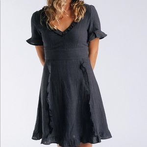 NWT Navy Woven Dress With Ruffled Trim